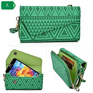 Huawei Ascend P2 Universal Ladies wristlet phone holder with bonus crossbody chain in a irish green tribal design