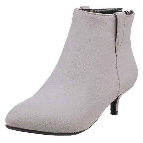 Aiyoumei Damen Spitz Ankle Boots Kleiner Absatz Stiefeletten Mit