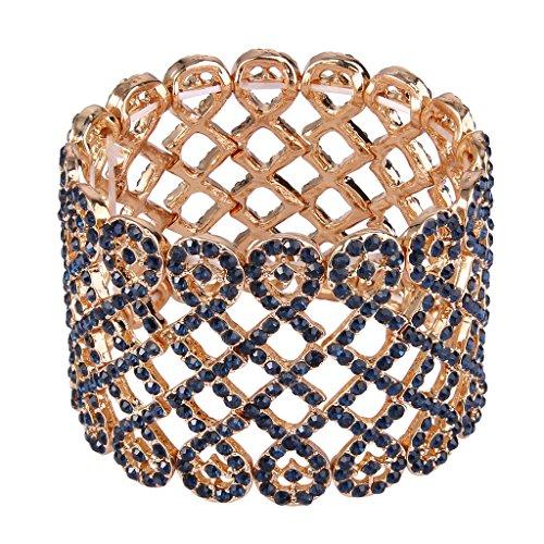 EVER FAITH Art Deco Love Knot Wide Stretch Bridal Bracelet Navy Blue Austrian Crystal Gold-Tone ()