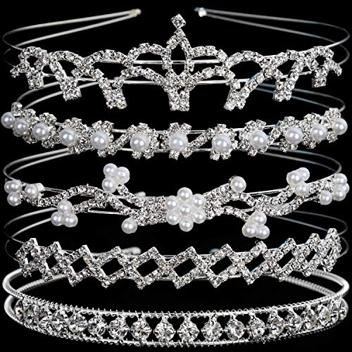 Crystal Headband Set of 5, Teenitor Jewelry Rhinestone Women Girl Hair Style Accessories Wedding Party Tiara Headdress- Silver