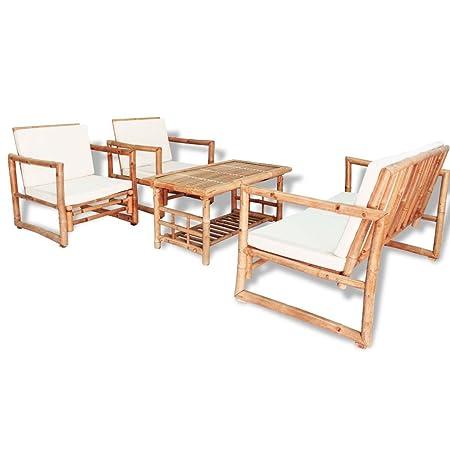 Festnight 12pcs Salon de Jardin en Bois de Bambou 1 Table ...
