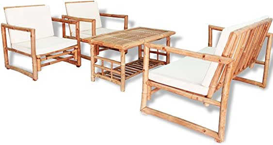 vidaXL Set Muebles Jardín 12 Pzas Bambú Mesa Sillones Patio Terraza Exterior: Amazon.es: Hogar