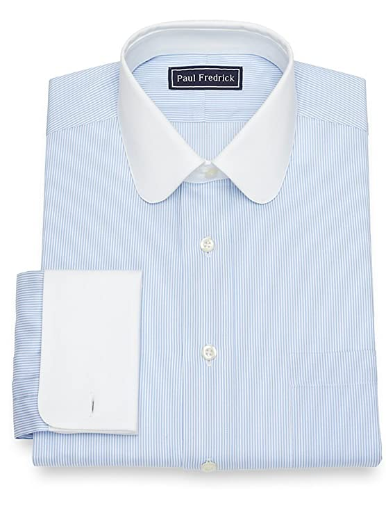 1920s Style Mens Shirts | Peaky Blinders Shirts and Collars Paul Fredrick Mens Cotton Stripe French Cuff Dress Shirt $35.98 AT vintagedancer.com
