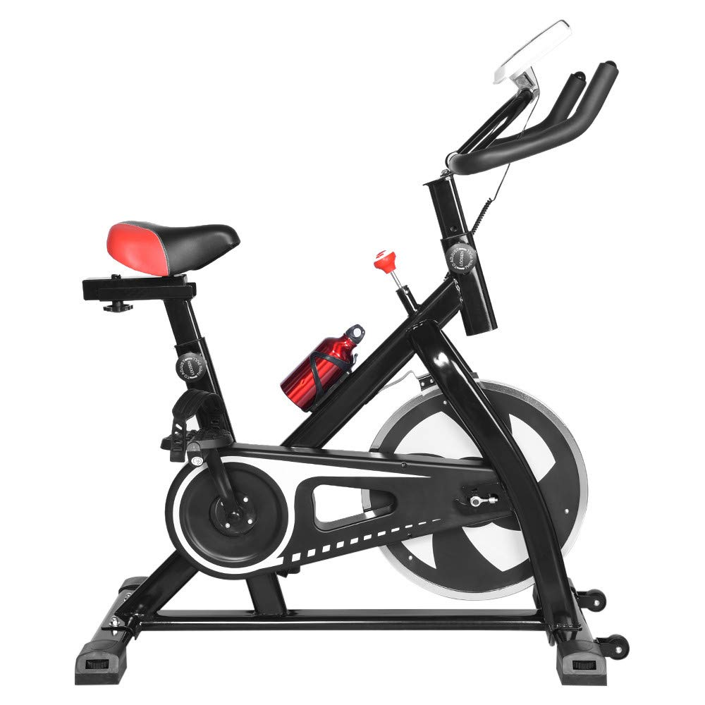Indoor Bicycle - Bike Trainer - Ultra-Quiet Stationary Home Exercise Gym Spinning Bike - Fitness Equipment with LCD Display & Comfortable Seat Cushion (Black, Delivered Within 5 Days)