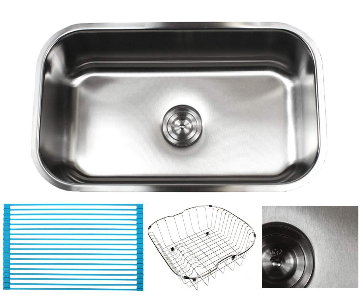 30 Inch Premium 16 Gauge Stainless Steel Undermount Single Bowl Kitchen Sink with FREE ACCESSORIES