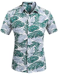 Men's Hawaiian Tropical Cotton Casual Button Down Short Sleeve T-Shirt