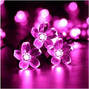 SEMILITS Solar Flower String Lights Outdoor Waterproof 23ft 50 Cherry Blossoms LED Pink Fairy Light Decorations for Christmas Tree Garden Patio Fence Yard Spring