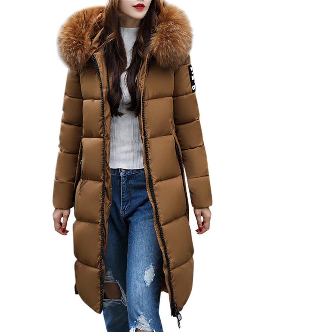 Nadition Women Solid Coat Clearance ♥ Casual Thicker Winter Slim Down Lammy Jacket Coat Overcoat (Coffee, 2XL)