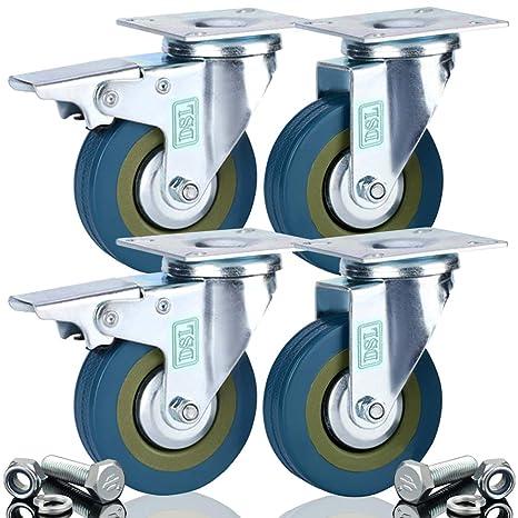 DSL - Ruedas giratorias resistentes de goma, 75 mm, 360 kg + herrajes,