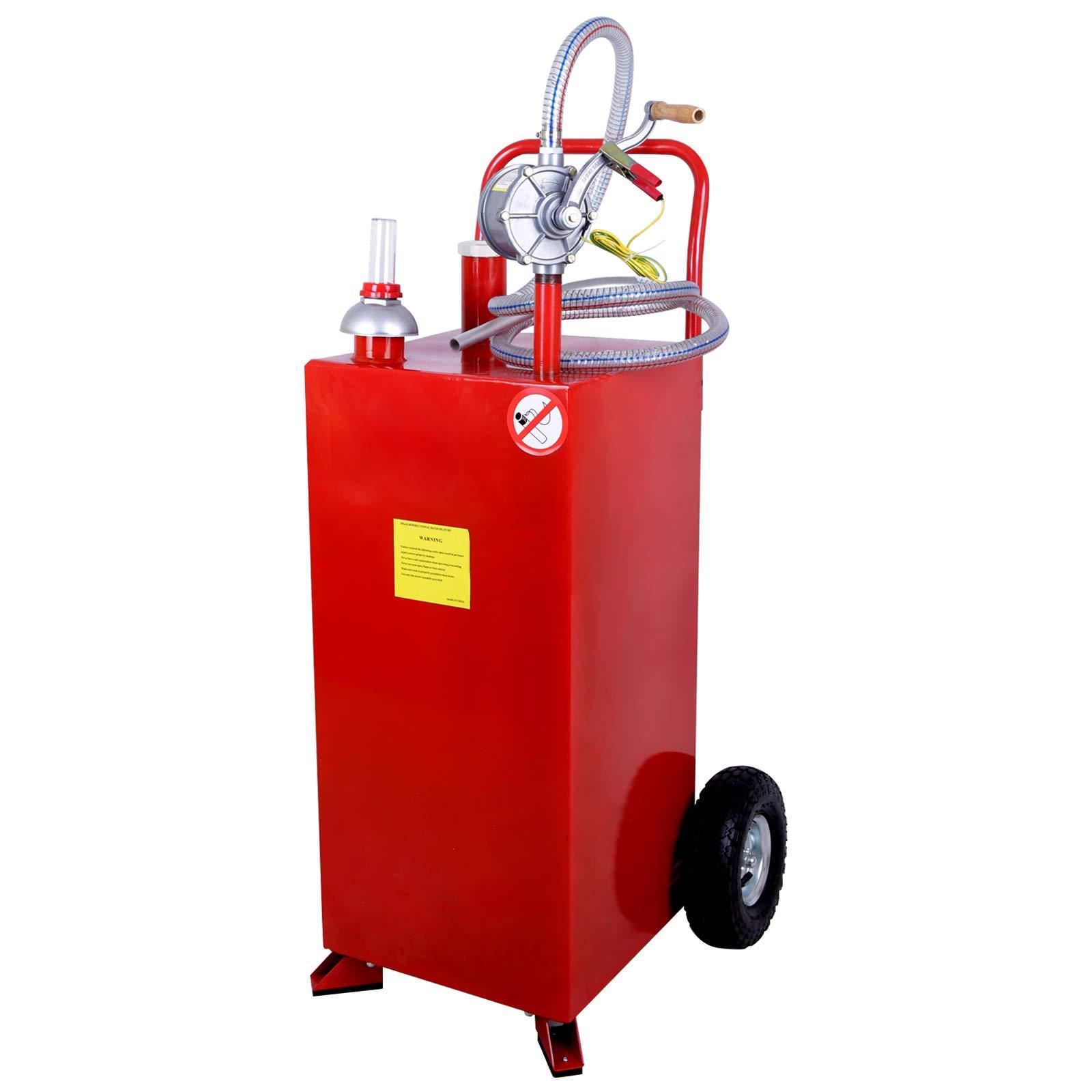 SUNCOO 30 Gallon Portable Gas Caddy Tank on Wheels Fuel Storage Gasoline Fluid Diesel with Pump &Hard Tube Red