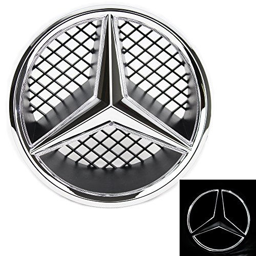 JetStyle LED Emblem for Mercedes Benz 2005-2013, Front Car Grille Badge, Illuminated Logo Hood Star DRL, White Light - Drive Brighter