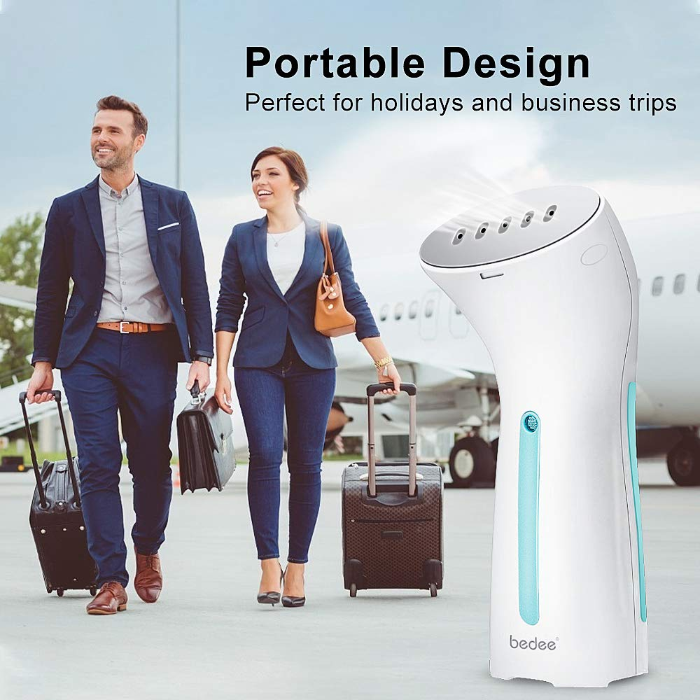 bedee Clothes Steamer, Handheld Steamer for Clothes, Portable Garment Steamer Travel Iron Wrinkle Remover - Mini Size, 25s Fast Heat-up, Auto-Off, Lightweight for Travel, Home and Office
