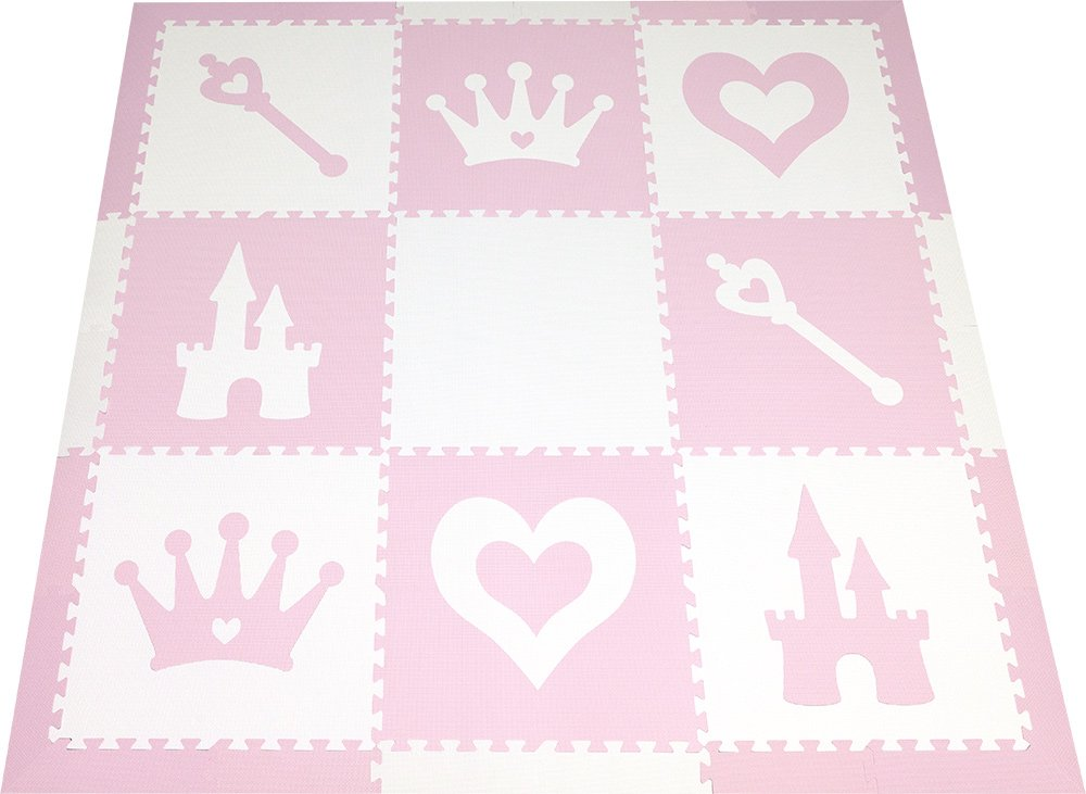 SoftTiles Kids Foam Playmat | Princess Theme | Non-Toxic Interlocking Floor Tiles for Girls' Playrooms & Baby Nursery | Light Pink and White (6.5' x 6.5') SCPRIWC