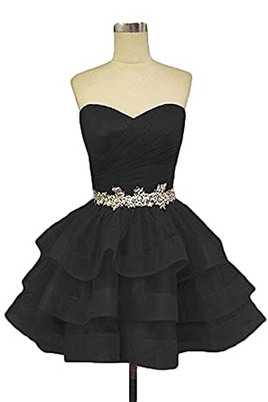 QSYE Womens Sweetheart Homecoming Cocktail Dress Puffy Short Beading Prom Dresses Juniors