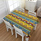 PriceTextile Aztec Dinner Picnic Table Cloth Traditional Classic Tribal Style Folk Motif with Sun Figure Ancient Mexican Culture Image Waterproof Table Cover for Kitchen Multi 52''x70''