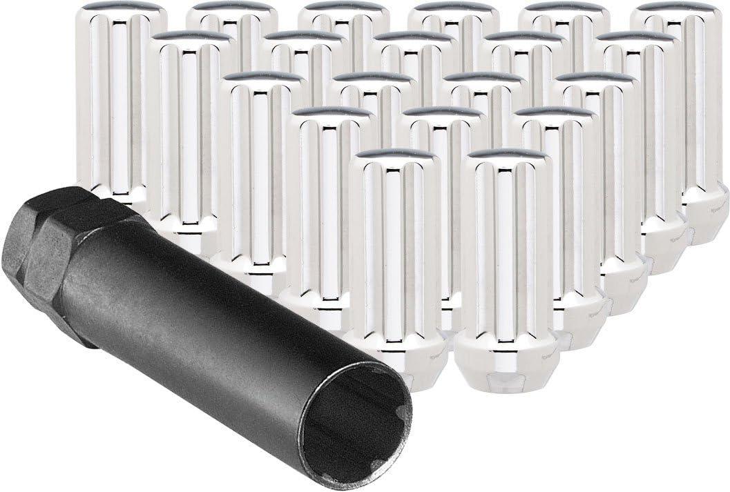 Ceco Chrome Duplex Spline Drive Tuner Installation Kit Thread Pitch 20 Lug Nuts /& 1 Key 14X2.0 R.H