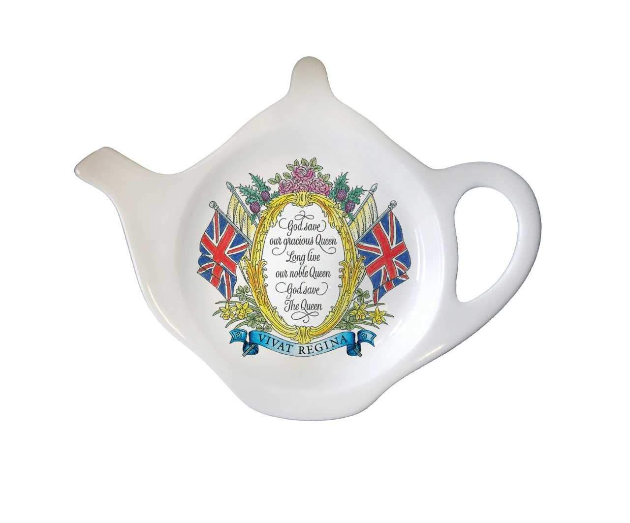 Tea Bag Coasters Tea Accessories Queen Elizabeth Royal Family Gifts for Mom Tea Lovers Teachers Ceramic Tea Pot Shape