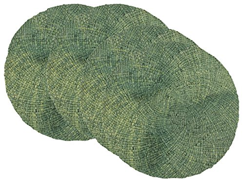 Now Designs Woven Round Maize Placemats, Set of Four, Jade -