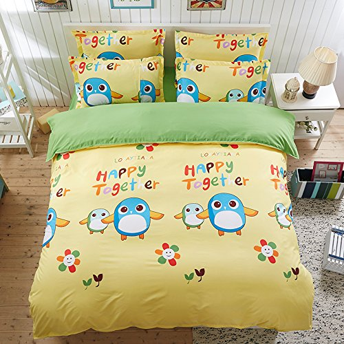 4pcs Bedding Set Cantoon Animal Design Duvet Cover Flat Sheet Pillowcase Twin Full Queen for Kids Teens (Queen, Cute Penguin, Yellow)