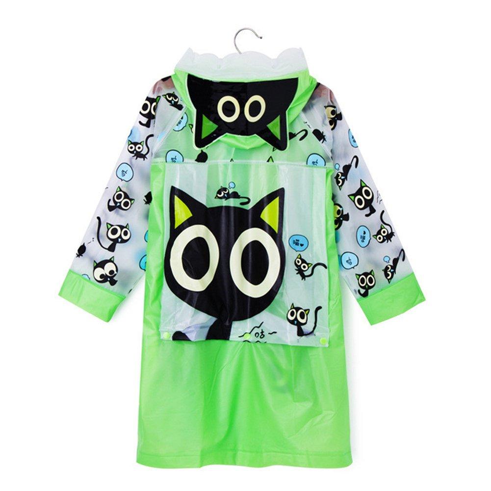 e-youth Cute Kids Girls Raincoat Cartoon Hooded Long Sleeve Waterproof Raincoat