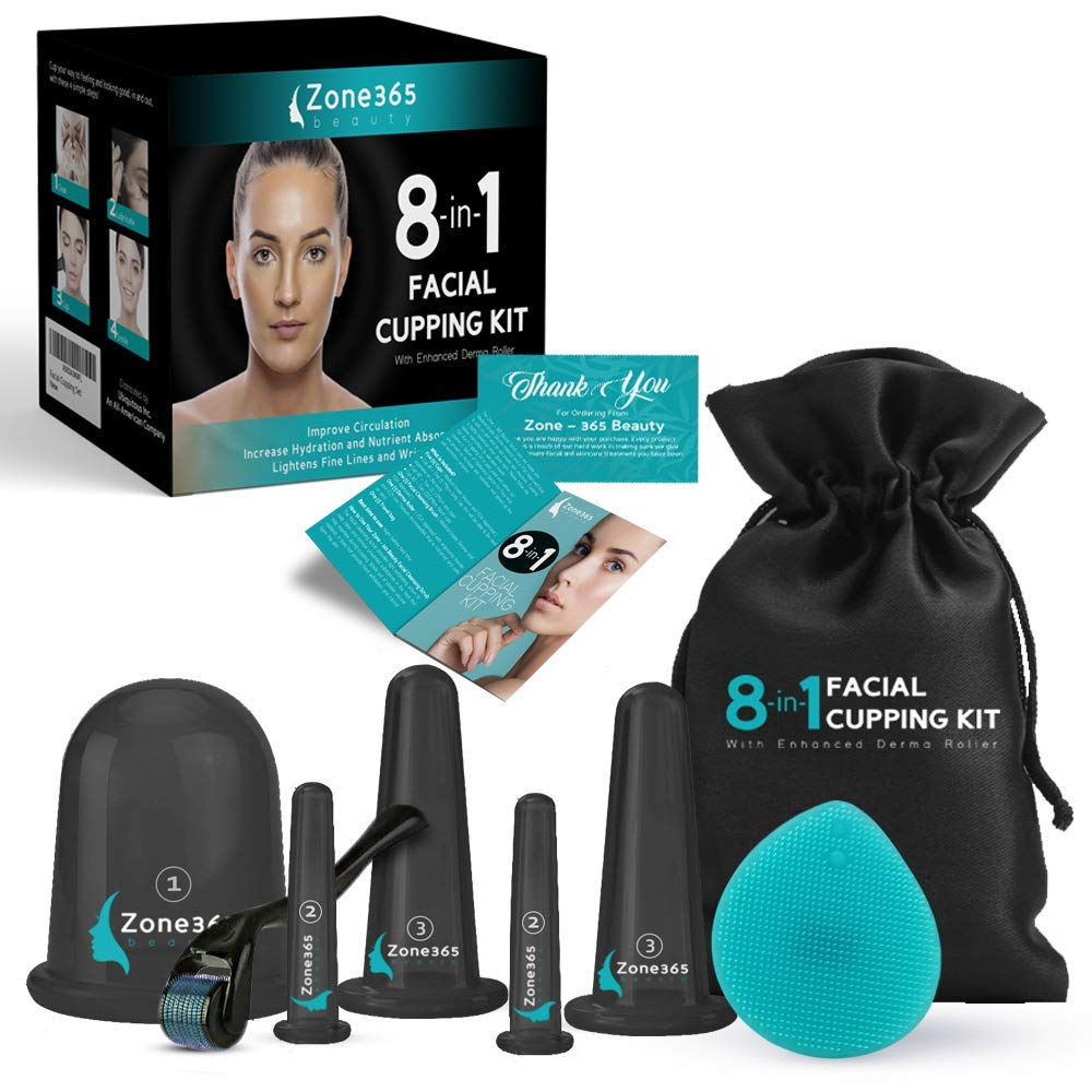 Facial Cupping Set, 8-in-1 Kit, 5 Facial & Body Massage Cups, Derma Roller – 0.25mm, Cleansing Brush & Travel Bag