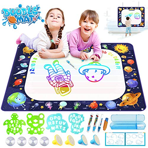 2 Year Old Boy Birthday Themes (Growsland Water Drawing Mat Kids Toys Aqua Magic Doodle Mat Mess Free Coloring Educational Xmas Gift Toddlers Toy for 2,3,4,5,6 Year Old Girls Boys Space Theme Writing Painting 39.4