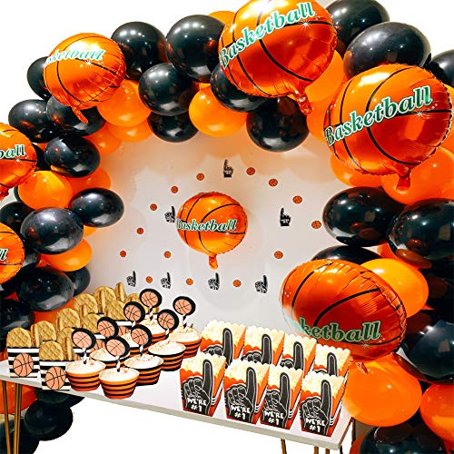 Basketball Birthday Decorations - Basketball Party Supplies Kit,Basketball Foil Balloons,Latex