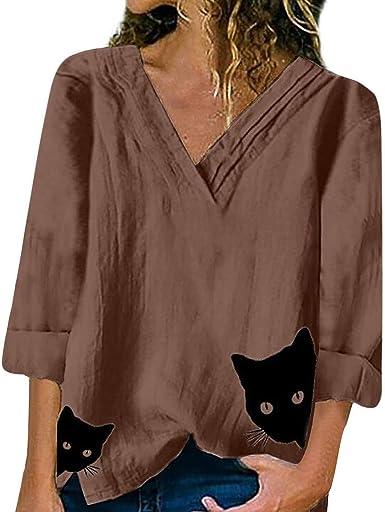 Vectry Camisa Mujer Algodón Y Lino para Mujer Gato con Cuello En V Manga Larga Top Camisa Otoño Verano Playa Y Fiesta: Amazon.es: Ropa y accesorios