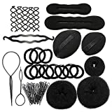 Sanwood Bun Maker Roller Braid Twist Elastics Pins Hair Design Styling Tools Kit ,Black (Black)