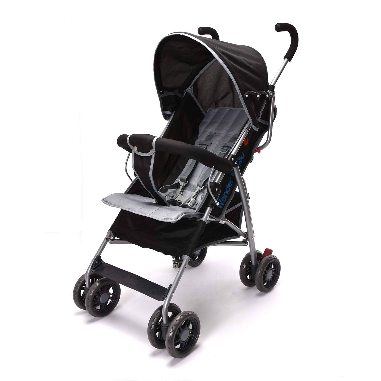 Wonder buggy Lightweight Stroller, Convenience Umbrella Baby Stroller with Front Bar Bumper, Rounded Hood and Basket, Two Position Foldable Infant Stroller Pushchair (Black)