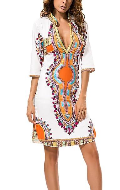 Vestido Playa Mujer Cortos Vintage Floreadas Etnica Estilo Vestido Boho Mangas 3/4 V Cuello Fashion Classic Slim Fit Vestidos De Verano Vestido De Verano ...