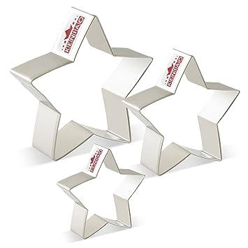 KENIAO Cortadores de Galletas Estrellas Moldes para Galletas de Fondant - 3 Tamaños Diferentes - Grande