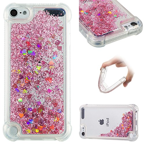 oft TPU [Air Cushion Design] Flowing Liquid Floating Luxury Bling Glitter Sparkle Case Cover for Apple iPod touch 5/6th Generation (Rose Gold) ()