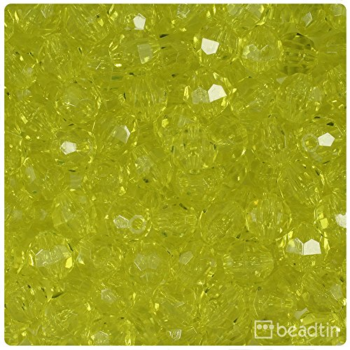 - BeadTin Yellow Transparent 10mm Faceted Round Craft Beads (210pcs)