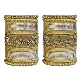 MUCH-MORE Authentic Multi Color Bangles Set of 54 Pieces Traditional Partywear Jewelry For Womens & Gilrs (Cream, 2.8)