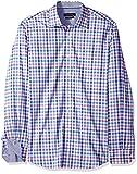 Bugatchi Men's Cotton Print Classic Fit Long Sleeve Point Collar Shirt, Classic Blue, XL
