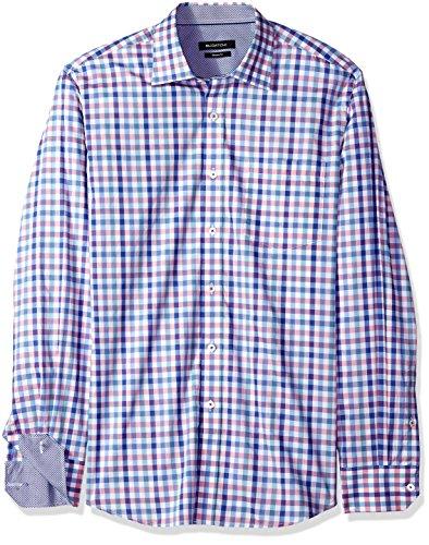 Bugatchi Men's Cotton Print Classic Fit Long Sleeve Point Collar Shirt, Classic Blue, XL by Bugatchi