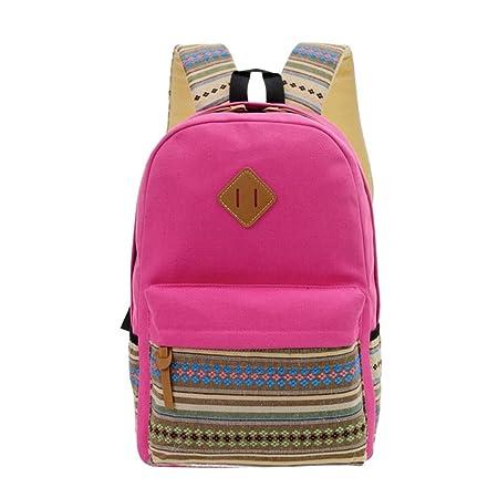 Amazon.com | Printing Backpack Women School Backpacks Bag Teenage Girls Vintage Canvas Backpack Simple Style Backpacks Red | Backpacks
