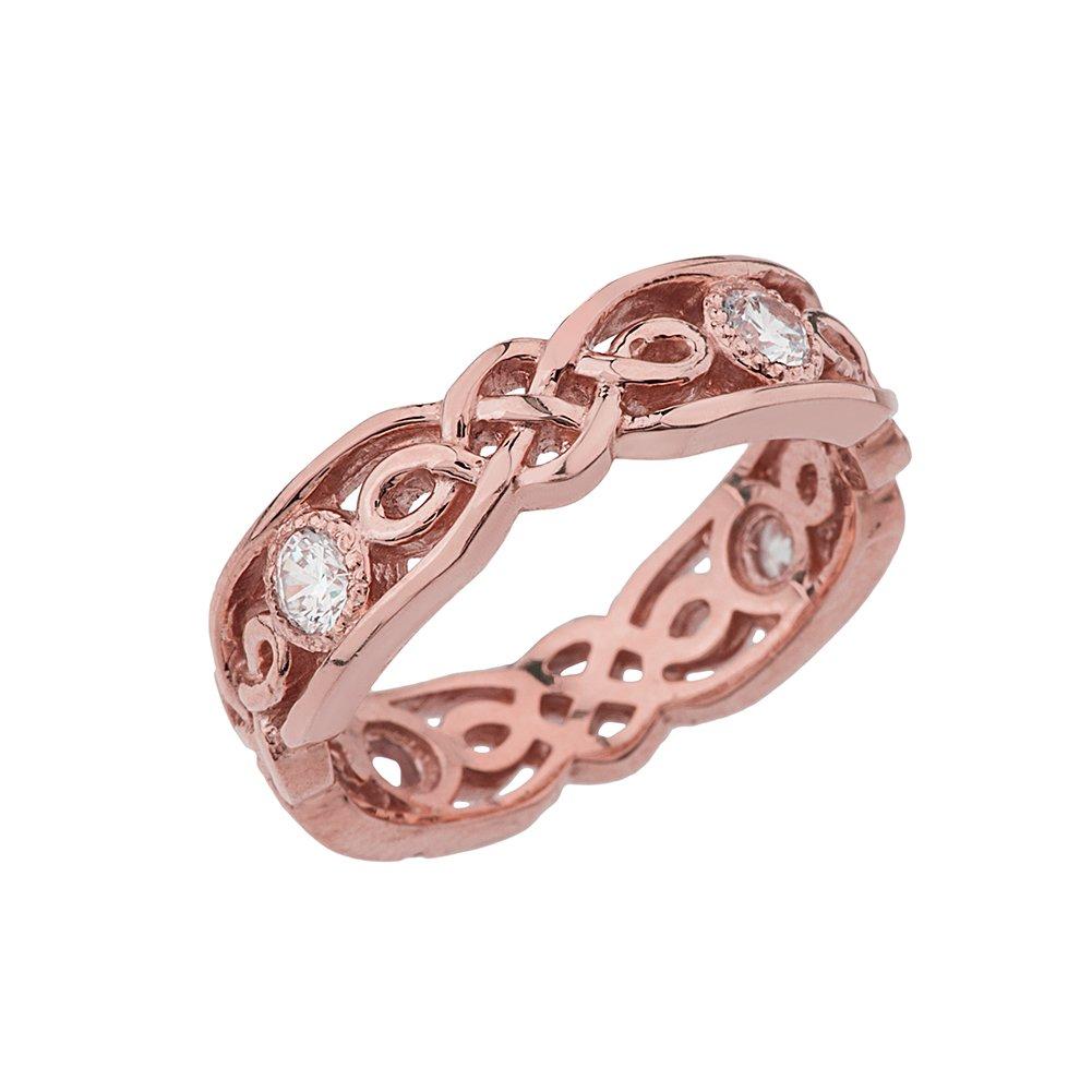 Amazon.com: Elegant 14k Rose Gold Diamond Vintage Celtic Knot ...