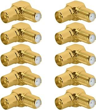 Adaptador de TV de oro IEC 9,5 mm Cable de antena SAT F de instalaciones adaptador Coax F de conector F de hembra F hembra conector F Conexión óptica ...