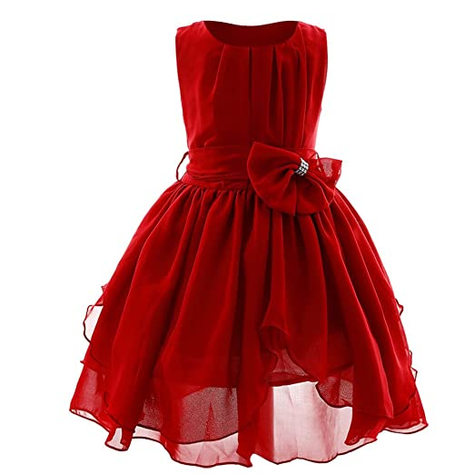 Amazon.com  ❤ Mealeaf ❤ Kids Flowers Girl Princess Bridesmaid Pageant Gown  Lace Solid Birthday Party Wedding Dress 2-13Years  Clothing 29c97672b17c