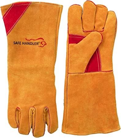 1Pair Electric Welding Gloves High Temperature Resistant Protective Long Gloves