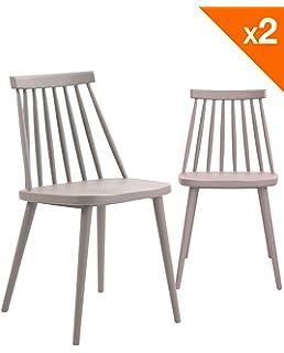 Chaises Design À Scandinave Mat De Barreaux Iconic Gris Lot 4 L5ARj34