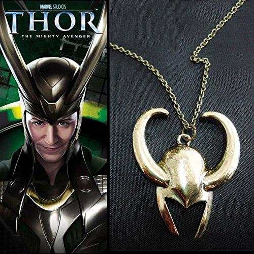 YSTD® Retro Metal Necklace For Film Avengers Thor Loki Golden Mask Pendant Helmet