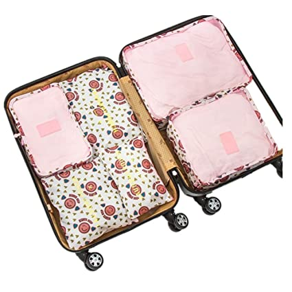 4bfef41ad42 6Pcs Waterproof Travel Storage Bags Clothes Packing Cube Luggage Organizer  Pouch (Pink Smile)