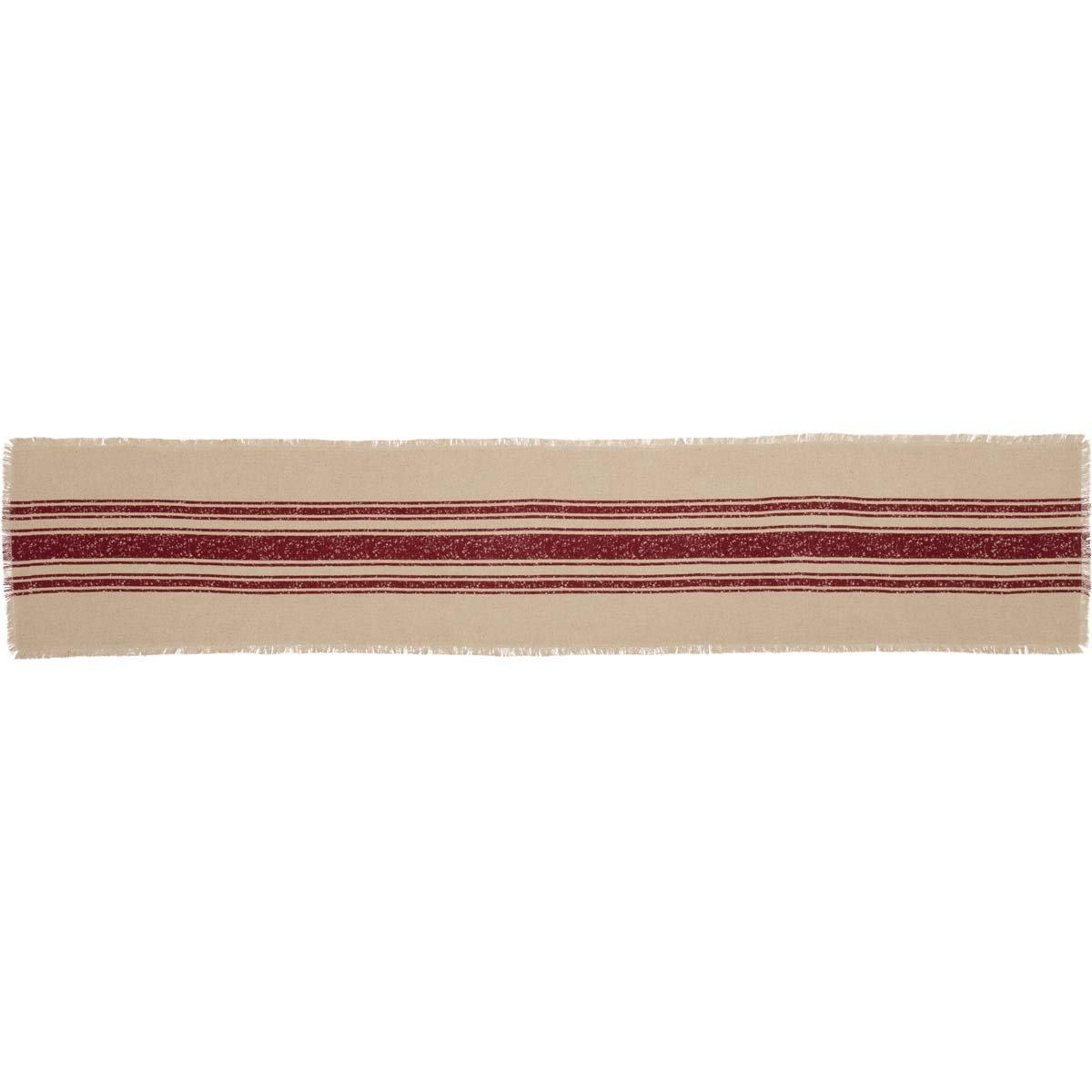 "VHC Brands Farmhouse Holiday Tabletop & Kitchen-Vintage Burlap Stripe White Runner, 13"" x 72"", Red"
