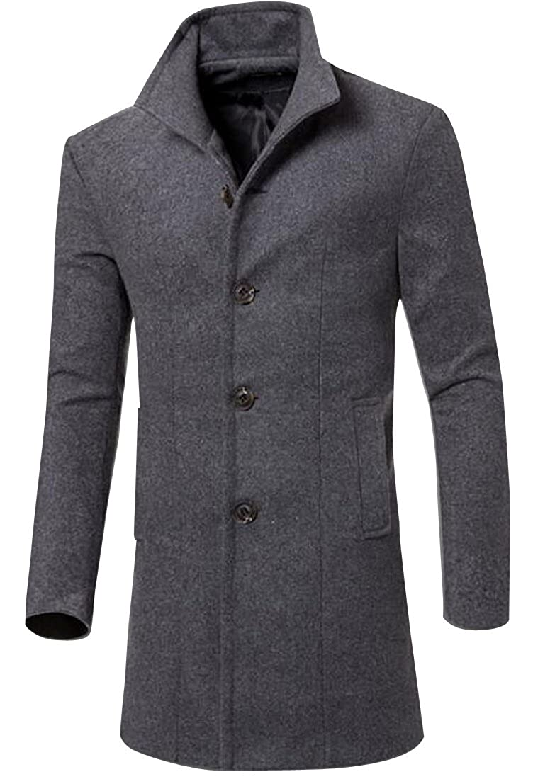 WAYA Mens Winter Single Breasted Slim Long Wool Pea Coat Overcoat