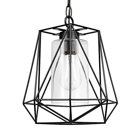 Globe Electric 44299 Sansa 1-Light Outdoor Indoor Pendant, Black with Clear Glass Inner Shade