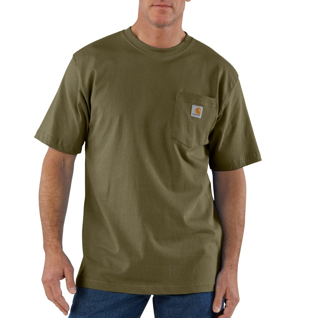 Carhartt Men's K87 Workwear Pocket Short-Sleeve T-Shirt, Army Green X-Large by Carhartt (Image #1)