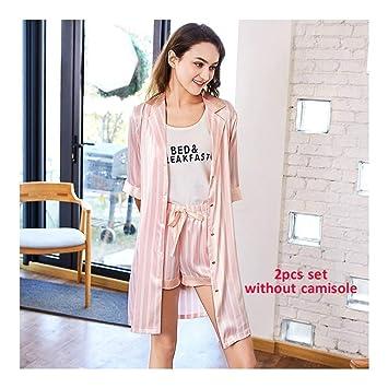 HAOLIEQUAN Lady Spring Summer 2 Pcs Conjunto De Pijama De Mujer Pijamas De Seda Y Traje